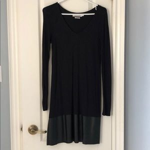 Anthropologie jersey dress vegan leather trim